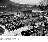 0111238 © Granger - Historical Picture ArchiveKOREAN WAR: PARADE, 1951.   South Korean troops on parade at Pusan, 24 January 1951.