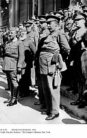 0111251 © Granger - Historical Picture ArchiveFRANCO IN BURGOS, 1936.   General Francisco Franco, left, in Burgos at the ceremony of his investiture as chief of the Spanish State and commander of the Spanish army, 2 October 1936, during the Civil War. Behind Franco are generals Emilio Mola (wearing glasses) and Miguel Cabanellas (white beard).