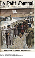 0111286 © Granger - Historical Picture ArchiveSECOND BALKAN WAR, 1913.   The evacuation, at France's request, of foreigners from Turkish-controlled Adrianople in Bulgaria, to avoid bombardment by Serbian and Bulgarian troops. Front page illustration from the French newspaper 'Le Petit Journal,' 2 March 1913.