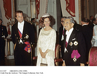 0111347 © Granger - Historical Picture ArchiveHIROHITO (1901-1989).   Emperor of Japan, 1926-1989. King Baudoin and Queen Fabiola of Belgium with the visiting emperor at a reception in Brussels, 1 October 1971.