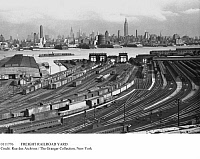 0111776 © Granger - Historical Picture ArchiveFREIGHT RAILROAD YARD.   A freight railroad yard on the New Jersey side of the Hudson River, with Manhattan in the background, 1930s.
