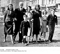 0111788 © Granger - Historical Picture ArchiveKENNEDY FAMILY, 1938.   Joseph P. Kennedy and his wife Rose Fitzgerald Kennedy, center, with some of their children in 1938, probably in London, where Joseph Kennedy was ambassador to the Court of St. James. Robert Kennedy is on the right, and Edward in front of his parents.