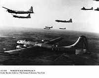 0111808 © Granger - Historical Picture ArchiveWORLD WAR II: BOEING B-29.   A flotilla of Boeing B-29 Superfortresses on a training flight in World War II. An aircraft of this type dropped the atomic bomb on Hiroshima, Japan, 6 August 1945.