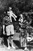 0111850 © Granger - Historical Picture ArchiveALBERT CAMUS (1913-1960).   French writer. Camus and his wife, Francine Faure, with their daughters Jean and Catherine. Photograph, 1945. Full credit: Tal - Rue des Archives / Granger, NYC -- All Rights Reserved.