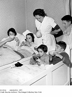 0111914 © Granger - Historical Picture ArchiveASIAN FLU, 1957.   All five children in a French family, bedridden with the Asian flu, drinking warm lemonade, autumn 1957.