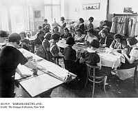 0111919 © Granger - Historical Picture ArchiveWARSAW GHETTO, c1941.   Female residents of the sealed Jewish ghetto in Warsaw, Poland, doing forced labor, sewing for the Nazi occupying forces in World War II.