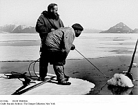 0111946 © Granger - Historical Picture ArchiveINUIT FISHING.   Fishing for narwhal in Hudson Bay, Canada. Photograph, mid-20th century.