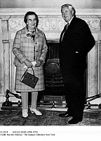0112039 © Granger - Historical Picture ArchiveGOLDA MEIR (1898-1978).   Israeli stateswoman. Prime Minister Golda Meir visiting her British counterpart, Harold Wilson, at 10 Downing Street in London, June 1969.