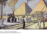 0112050 © Granger - Historical Picture ArchiveSTREETCAR TO THE PYRAMIDS.   The tramway from Cairo arriving at the pyramids at Giza, Egypt. Illustration by Eugene Damblans from the French magazine 'Le Pelerin,' January 1933.
