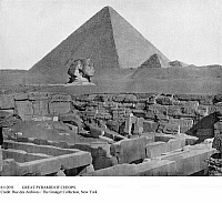 0112051 © Granger - Historical Picture ArchiveGREAT PYRAMID OF CHEOPS.   The pyramid at Giza, Egypt, and the head of the Sphinx photographed under the direction of John Lawson Stoddard (1850-1931).