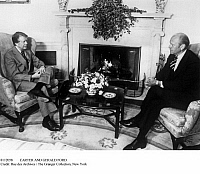 0112058 © Granger - Historical Picture ArchiveCARTER AND GERALD FORD.   Former President Gerald Ford, right, meeting with President Jimmy Carter at the White House, Washington, D.C., 24 March 1977.