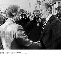 0112059 © Granger - Historical Picture ArchiveCARTER AND GERALD FORD.   Former President Gerald Ford, right, visiting with President Jimmy Carter at the White House in Washington, D.C., 24 March 1977.