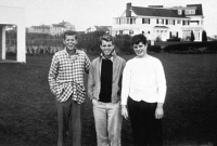 0112069 © Granger - Historical Picture ArchiveKENNEDY BROTHERS, c1945.   From left: John F. Kennedy, Robert F. Kennedy, and Edward 'Ted' Kennedy. Photographed at Hyannisport, Massachusetts, c1945.