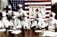 0112073 © Granger - Historical Picture ArchiveFLU: UNITED STATES, 1918.   Red Cross volunteers in America working to prevent the Spanish influenza epidemic of 1918 from spreading to American soldiers in World War I. Hand colored photograph.