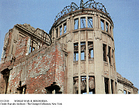 0112110 © Granger - Historical Picture ArchiveWORLD WAR II: HIROSHIMA.   Ruins of the Genbaku Dome, now the Hiroshima Peace Memorial, in the center of Hiroshima, Japan, where the first atomic bomb was dropped, 6 August 1945.
