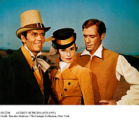 0112208 © Granger - Historical Picture ArchiveAUDREY HEPBURN (1929-1993).   American (Belgian-born) actress. With Henry Fonda, left, and Mel Ferrer in a publicity photograph for the film 'War and Peace,' 1956, based on Leo Tolstoy's novel.