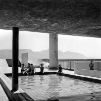 0112373 © Granger - Historical Picture ArchiveFRANCE: CITÉ RADIEUSE.   Pool on the roof terrace of the Unité d'habitation (apartment building) in Marseilles, France, designed by Le Corbusier, the assumed name of the Swiss architect Charles-Edouard Jeanneret-Gris (1887-1965).