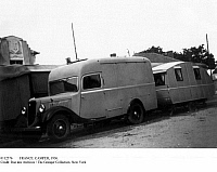0112376 © Granger - Historical Picture ArchiveFRANCE: CAMPER, 1936.   The Freton family on vacation with their van and trailer in 1936, at the time of the introduction of paid vacation time in France.