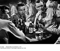 0112408 © Granger - Historical Picture ArchiveFROM HERE TO ETERNITY, 1953.   Montgomery Clift (facing camera, left) and Frank Sinatra in a scene from the film 'From Here to Eternity,' based on the novel by James Jones and directed by Fred Zinnemann, 1953.
