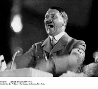0112438 © Granger - Historical Picture ArchiveADOLF HITLER (1889-1945).   Chancellor of Germany, 1933-1945. Addressing a rally, early 1940s.