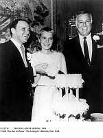 0112534 © Granger - Historical Picture ArchiveSINATRA AND FARROW, 1966.   American singer and actor Frank Sinatra and his wife, American actress Mia Farrow, cutting their wedding cake at the Sands Hotel in Las Vegas, Nevada, 19 July 1966. At right is the hotel's entertainment director, Jack Entratter.
