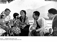 0112551 © Granger - Historical Picture ArchiveGOEBBELS AND FAMILY, 1938.   German Propaganda Minister Joseph Goebbels (second from right) photographed with his wife Magda and their daughters during a visit with Chancellor Adolf Hitler (right) at his retreat at Berchtesgaden in the Bavarian Alps, 1938.