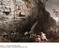 0112571 © Granger - Historical Picture ArchiveYUCATAN: ITZAMNA, 1841.   A white hunter and his native guide pursue a wild feline near a stone wall bearing a stucco head of Itzamna, creator deity of Mayan mythology, at Izamal in Yucatan, Mexico. Lithograph, 1841, after a drawing by Frederick Catherwood.