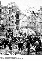 0112574 © Granger - Historical Picture ArchiveDRESDEN: FIREBOMBING, 1945.   Civilians clearing rubble amid the ruins of Dresden, Germany, after the Allied firebombing of the city, 13-15 February 1945, toward the end of World War II.