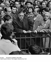 0112615 © Granger - Historical Picture ArchiveJEAN-PAUL SARTRE (1905-1980).   French philosopher, novelist, and dramatist. Speaking at a demonstration in Place Maubert in Paris, France, 1 November 1961, against the expulsion of Algerians arrested during demonstrations two weeks earlier, at the time of the Algerian War.
