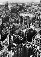 0112647 © Granger - Historical Picture ArchiveDRESDEN: RUINS, 1946.   View of Dresden, Germany, showing ruins resulting from the Allied firebombing of 13-15 February 1945, near the end of World War II. Photographed in August 1946.