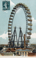 0112660 © Granger - Historical Picture ArchivePARIS: FERRIS WHEEL, 1900.   French postcard, c1910, showing the big ferris wheel constructed for the International Exposition in Paris, France, in 1900.