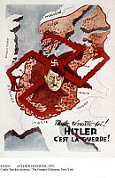 0112667 © Granger - Historical Picture ArchiveANTI-HITLER POSTER, 1939.   'Wake up World! Hitler Means War!' French poster, 1939, depicting German Chancellor Adolf Hitler as a spider with legs in the form of a Nazi swastika, which are grabbing territories in Europe in all directions.