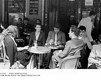 0112733 © Granger - Historical Picture ArchivePARIS: SIDEWALK CAFE.   The terrace of Cafe de Flore on Boulevard Saint-Germain on the left Bank in Paris, France, late 1940s