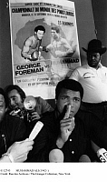 0112745 © Granger - Historical Picture ArchiveMUHAMMAD ALI (1942-2016).   Cassius Clay. American heavyweight boxer. At a press conference in Orly airport, Paris, 10 September 1974, before his 'Rumble in the Jungle' with George Foreman in Kinshasa, Zaire (now Congo), two weeks later.