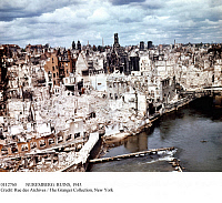 0112760 © Granger - Historical Picture ArchiveNUREMBERG: RUINS, 1945.   View of the center of the city in Bavaria, Germany, which was heavily bombed from 1943 to 1945 in World War II Allied air raids.