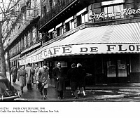 0112761 © Granger - Historical Picture ArchivePARIS: CAFE DE FLORE, 1958.   Cafe de Flore on Boulevard Saint-Germain on the Left Bank in Paris on a cold and wet January day.