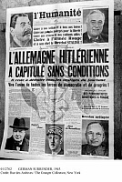 0112762 © Granger - Historical Picture ArchiveGERMAN SURRENDER, 1945.   Front page of the French communist newspaper 'L'Humanité,' 8 May 1945, announcing the unconditional surrender of Hitler's Germany in World War II.