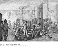 0112777 © Granger - Historical Picture ArchivePARIS: PALAIS ROYAL, 1789.   'Motionnaires' at Cafe du Caveau in Palais Royal, Paris, August 1789, during the French Revolution. Contemporary French line engraving.
