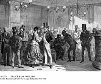 0112779 © Granger - Historical Picture ArchiveFRANCE: BANK PANIC, 1869.   The Cafe de la Bourse (stock exchange cafe) in Paris during the financial panic of 1869. Contemporary wood engraving.