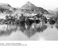 0112796 © Granger - Historical Picture ArchiveEGYPT: NATURAL PYRAMIDS.   Naturally shaped limestone pyramids on the bank of the Nile River in Upper Egypt, c1900.