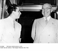 0112800 © Granger - Historical Picture ArchiveTRUMAN AND FAISAL II, 1952.   King Faisal II of Iraq (1935-1958) is received by President Harry S. Truman in Washington, D.C., 22 August 1952.