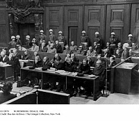 0112870 © Granger - Historical Picture ArchiveNUREMBERG TRIALS, 1946.   Nazi defendants on the benches at the trial of major World War II war criminals, held at Nuremberg, Germany, November 1945-October 1946. First row from left: Hermann Göring, Rudolf Hess, Joachim von Ribbentrop, Wilhelm Keitel, Alfred Rosenberg, Hans Frank, Wilhelm Frick, Julius Streicher, Walther Funk, Hjalmar Schacht.