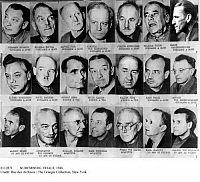 0112871 © Granger - Historical Picture ArchiveNUREMBERG TRIALS, 1946.   The principal defendants in the trials of World War II war criminals at Nuremberg, Germany, and their sentences, 1946. Probably from a contemporary French newspaper.