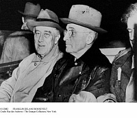 0112882 © Granger - Historical Picture ArchiveFRANKLIN DELANO ROOSEVELT   (1982-1945). 32nd President of the United States. Newly reelected President Roosevelt, left, with his new vice president, Harry S. Truman, November 1944.