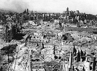0112894 © Granger - Historical Picture ArchiveNUREMBERG: RUINS, 1945.   View of the city of Nuremberg, Germany, in ruins after heavy Allied bombing, 1943-1945, in World War II.