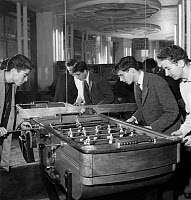 0112899 © Granger - Historical Picture ArchiveTABLE SOCCER GAME, 1958.   Young Parisians playing at a café in Paris, France, October 1958.