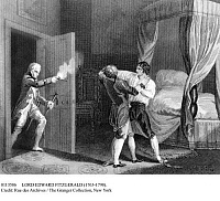 0113586 © Granger - Historical Picture ArchiveLORD EDWARD FITZGERALD   (1763-1798). Irish aristocrat and revolutionary. Fitzgerald's arrest for high treason by Dublin Town Major Henry Sirr, 18 May 1798. Line engraving by J. Thurston after J. Rogers.