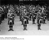 0113656 © Granger - Historical Picture ArchiveWORLD WAR I: BAGPIPERS.   Bagpipers of the Scottish Guard photographed at the Gard du Nord station in Paris following their arrival in France during World War I.