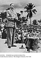 0113954 © Granger - Historical Picture ArchiveCHARLES de GAULLE (1890-1970).   French soldier and statesman. Photographed while leader of the Free French Forces during World War II, addressing the opening session of the Brazzaville Colonial Conference, a gathering of colonial officials from the French territories in Africa, in Brazaville, Congo, 30 January 1944.