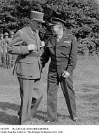 0113957 © Granger - Historical Picture ArchiveDe GAULLE AND EISENHOWER.   General Charles de Gaulle (left), leader of the Free French Forces, and General Dwight D. Eisenhower, Supreme Commander of Allied forces in Europe, photographed during a review of American troops at Allied headquarters in France, 22 August 1944, three days prior to the liberation of Paris during World War II.